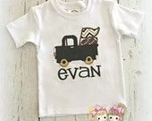 Football Truck Shirt- Gold and black or choose your own colors- Pickup truck with footballs