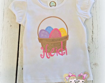 Girls Easter shirt - basket of eggs shirt - Easter egg hunting shirt - 1st egg hunt shirt - 1st Easter shirt - girls Easter basket shirt