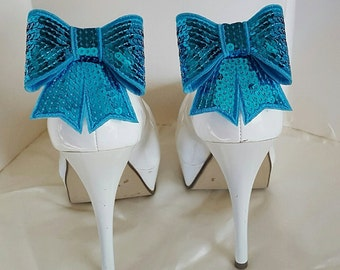 Wedding Shoe Clips, Teal Sequins Shoe Clips, Satin Bow Shoe Clips, Bridal SHoe Clips, Womens Shoe Clips,Clips for Bridal Wedding Shoes