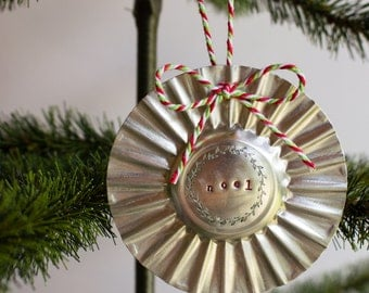 NOEL Hand Stamped Tart Tin Christmas Ornament rustic wreath hand crafted
