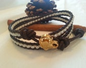 Double leather wrap bracelet, seed beads, boho chic brown wrap braclet
