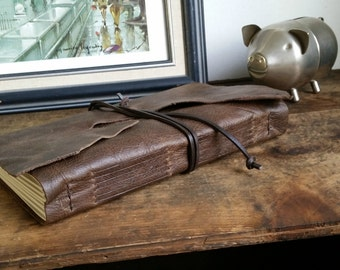 """Large Rustic Leather Journal, 6"""" x 9"""" Dark Brown Journal by The Orange Windmill on Etsy 1610"""