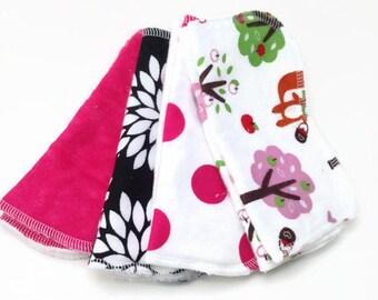 cloth wipes - set of 8, baby wipes, washcloths: Hot pink fox polka dot
