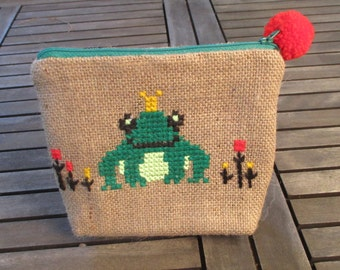 Frog burlap pencil pouch bag, cross stitch embroidery ,accessories pouch, handmade pouch, travel accessory