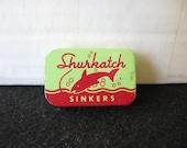Vintage Shurkatch split shot sinker tin nice graphics