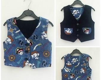 Boys Pirate Outfit, Boys Pirate Vest, Boys Reversible Vest, Boys Pirate Waistcoat, Boy's Waistcoat, Boys Birthday Outfit, 1st Birthday,