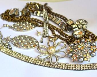 Lot of rhinestone jewelry
