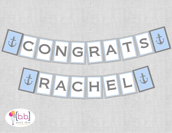 Nautical Baby Shower Congrats Banner (Blue & Gray)- Printable or Shipped