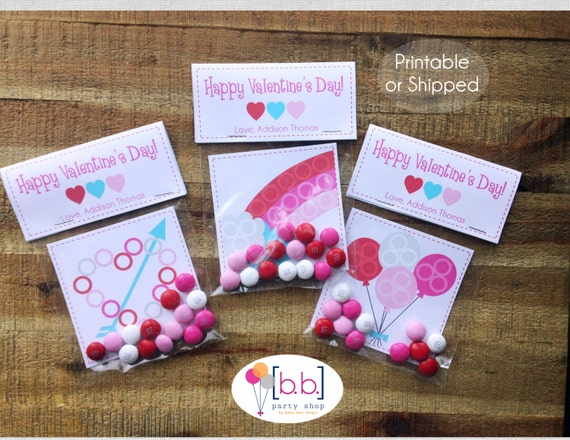 Valentine's Day Card- Personalized- Candy Treat Bags- Printable or Shipped