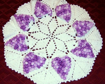 40% Off, Crochet Doily, Grape Doily, Grape Clusters, 11 inch doily,