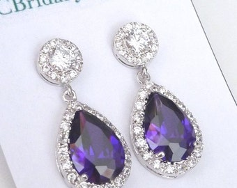Bridal Earrings Halo Purple Pear Shaped Cubic Zirconia with White Gold Plated Round CZ Post Earrings