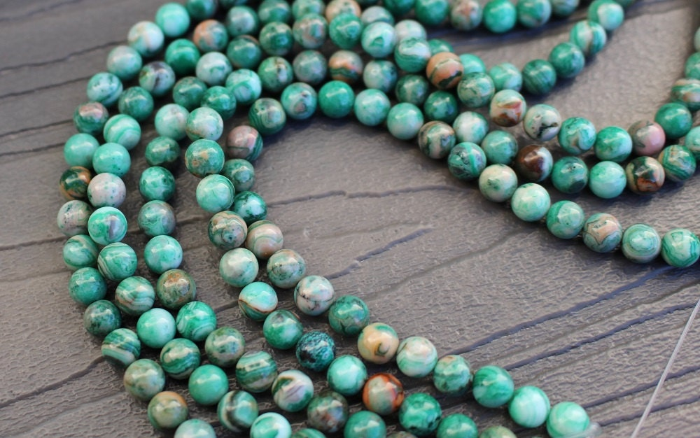 6mm Green Crazy Lace Agate Beads Round Smooth Full Strand 16