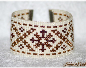 Ethnical native cuff bracelet with Māra cross, Baltic symbol bead loom