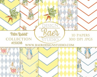 BEATRIX POTTER Digital Paper, Peter Rabbit Digital Paper, Yellow Harlequin Digital Paper, Peter Rabbit Baby Shower, Easter Digital Paper