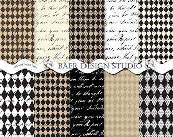 DIGITAL BACKGROUND:French Script Digital Paper, Harlequin Digital Paper, Digital Paper Black and White, Calligraphy Paper, Graduation Paper