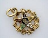 Vintage Masonic Eastern Star OES Logo Pendant Charm 12K Gold Filled Pentagram Charm Pendant