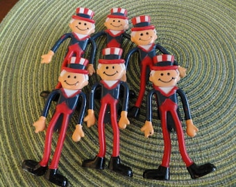 B480)  Vintage Bendable Uncle Sam Figures craft project 4th of July