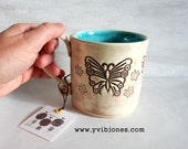 Turquoise Butterfly Large Ceramic Coffee Mug Decorative Pretty Tea Cup Unique Handmade Birthday Gift for Her, Microwave Safe White 16 oz