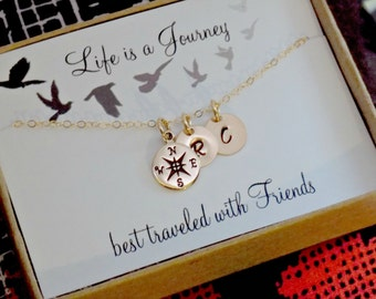 Graduation necklace for best friend, BFF jewelry, Gold compass necklace, personalized initial charm jewelry, sterling silver or gold options