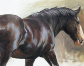 Original oils on canvas painting heavy horse equine dressage movement and energy sketch by H Irvine