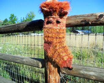 Gianna Giraffe Knitted Christmas Stocking, Mohair and Copper