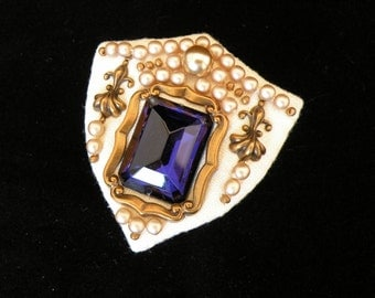 Striking pearl and faux sapphire brooch - dramatic statement - real costume jewellery
