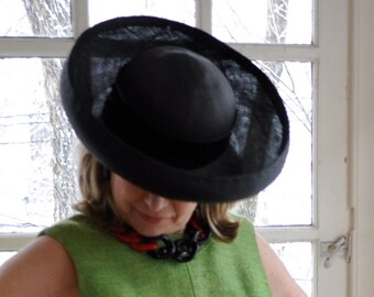 Black Straw Up Turned Brim Hat/Vintage 1970s/Sailor Hat Sun Hat/Kentucky Derby