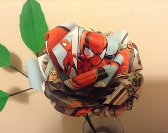 Spider-Man single stem comic book paper Rose can be made as boutonniere