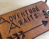 Leather Keychain Adventure Awaits Mountains Personalized Initials Monogrammed Arrow Key Fob 3rd Anniversary Gift