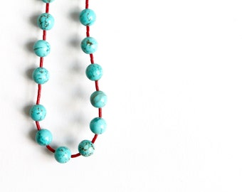 Vintage Native-American Turquoise/Coral Beaded Necklace - handmade, tribal, native, Indian, boho, turquoise, coral