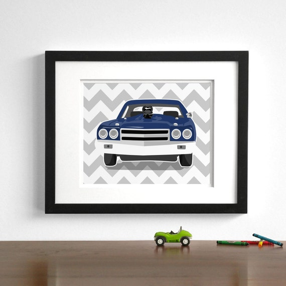 Childrens art - Chevy Chevell - pick your colors - Vintage sports cars - boys nursery art prints