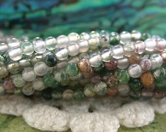 2mm Moss Agate Beads, Tiny Semi Precious Stone Beads, Gemstone Beads, 2mm Round Stone Seed Beads SP-352