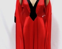 "Olga Peignoir Set Red & Black 120"" Hem Sweep Bodysilk Nightgown Robe Vintage Size  M"