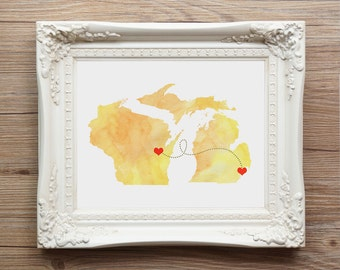 Christmas Gift Two States Love - Watercolor Wedding Gift  - Personalized State Heart Natural Series - Custom Location Modern Art Print