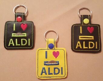 I Love ALDI Quarter Keeper Keychain FOB
