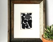Contemporary Art - Modern Organic Shapes with Patterns - Linocut Block Print - Original or Digital Print