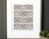 Linocut Print - Modern Geometric Checkboard Pattern 11 x 14 Block Print - 1-8034