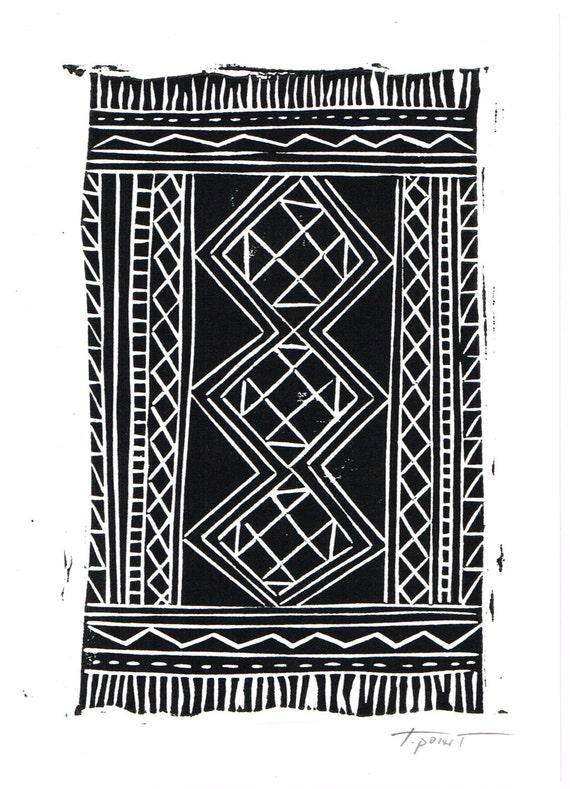 Kilim rug print home decor print modern art linocut - Ways decorating using kilim print ...
