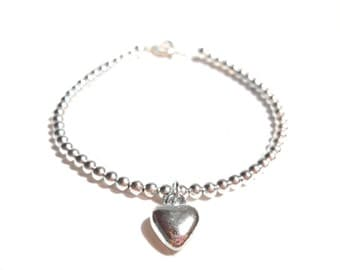 Puffy Heart Charm Bracelet, Silver Plated Bead Bracelet, Minimalist Bracelet, Friendship Bracelet, UK Jewellery