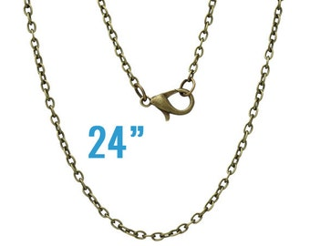 """Antique Bronze Necklaces - Cable Chains - 3x2mm -  24"""" Long - 4pcs - Ships IMMEDIATELY from California - CH432"""