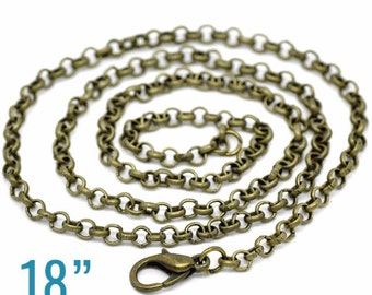 """Bronze Rolo Necklaces - Antique Bronze - 3.2x0.5mm - 18"""" Long  - 3pcs - Ships IMMEDIATELY from California - CH461"""