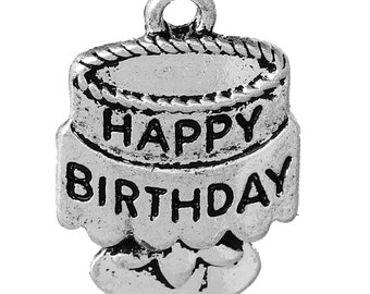 Happy Birthday Charms - Antique Silver - 20x14mm - 3pcs - Ships IMMEDIATELY from California - SC1224