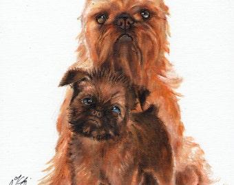 Original Oil Art BRUSSELS GRIFFON Portrait Painting Artist Signed Artwork Puppy Dog