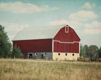 Rustic Photography, Red Barn Wall Art, Farmhouse Decor, Farm Photograph, Blue Green Red Art, Country Artwork, 11x14 Print, Landscape Picture