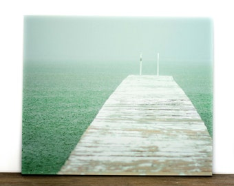 Mint Green Canvas, Lake House Decor, Large Ocean Wall Art, Water Picture, Big Nature Photography, 16x20 Photograph Rain