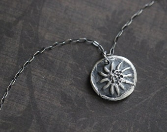 Sun Charm, Sterling Silver, Charm Necklace, Rustic, Boho, Silver Necklace, Silver Sun, 17 Inch, Cable Chain