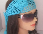 Lace Head Wrap Head bands Turquoise Flower Lace Summer Head bands for Women Headband Aqua Head wrap Hair Summer Headband Gift for her