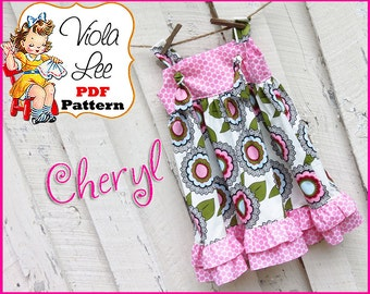 Cheryl... Girl's Sewing Pattern. Girl's Apron Dress Pattern.  Girls Dress. Jumper Pattern. Knot Dress Pattern. pdf Pattern. Toddler Dress .