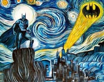 Batman Starry Night Cross Stitch Pattern
