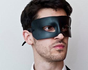 Men's Handmade Large Black Genuine Leather Eye Mask